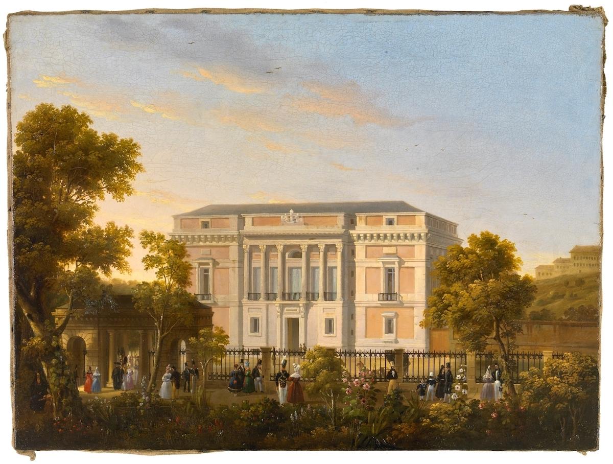 José María Avrial y Flores.Vista de la fachada sur del Museo del Prado, desde el interior del Jardín Botánico. Hacia 1835. Museo Nacional del Prado. Madrid.