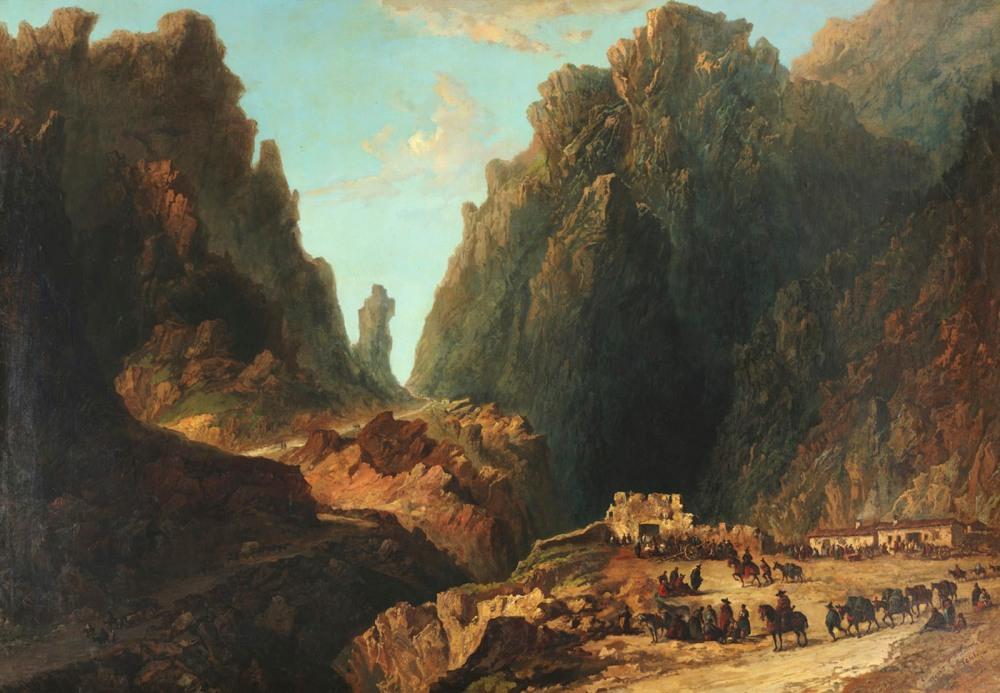 Eugenio Lucas Velázquez. Paisaje con contrabandistas.1861. Museo Lázaro Galdiano. Madrid.
