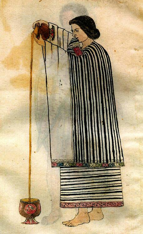 Anónimo.Mujer vertiendo chocolate. Hacia 1553. Museo de América. Madrid.