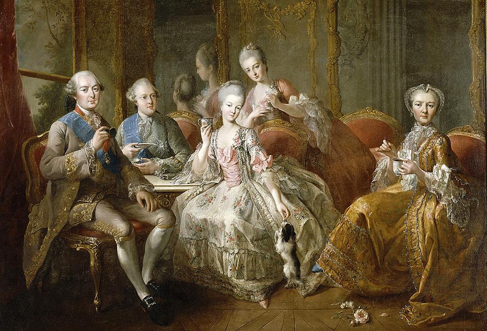 Jean-Baptiste Charpentier el viejo. La familia del duque de Penthièvre o La Taza de Chocolate. 1768. Palacio de Versalles.