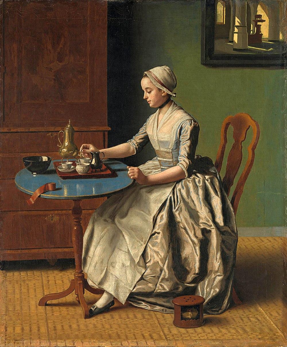 Jean-Étienne Liotard. Dama vertiendo chocolate. Hacia 1774. Rijksmuseum. Amsterdam.