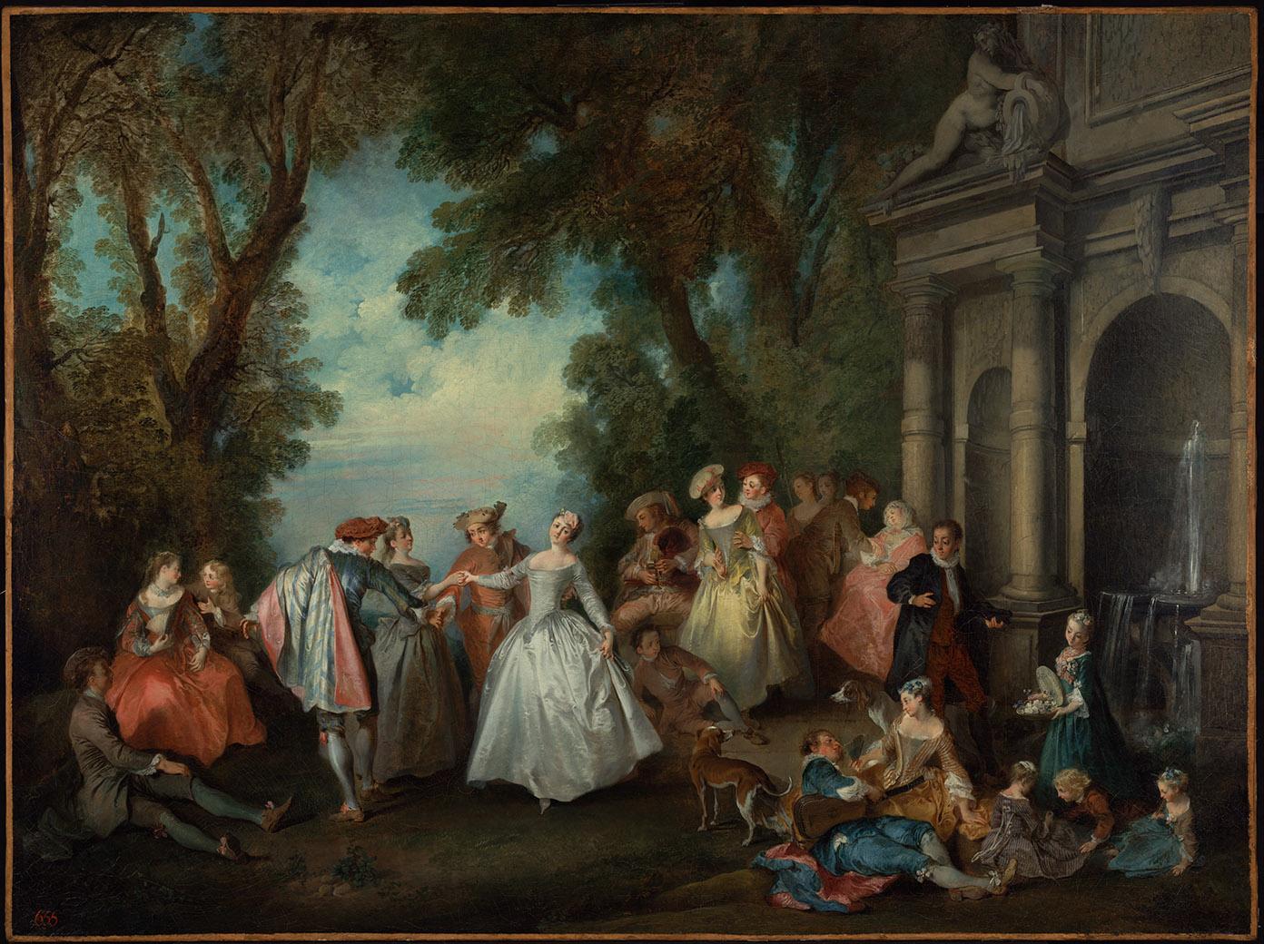Nicolas Lancret. Baile delante de una fuente.1724. Getty Center. Los Ángeles.