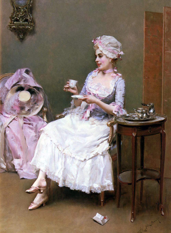 Raimundo de Madrazo y Garreta. Mujer tomando chocolate caliente. Colección particular.