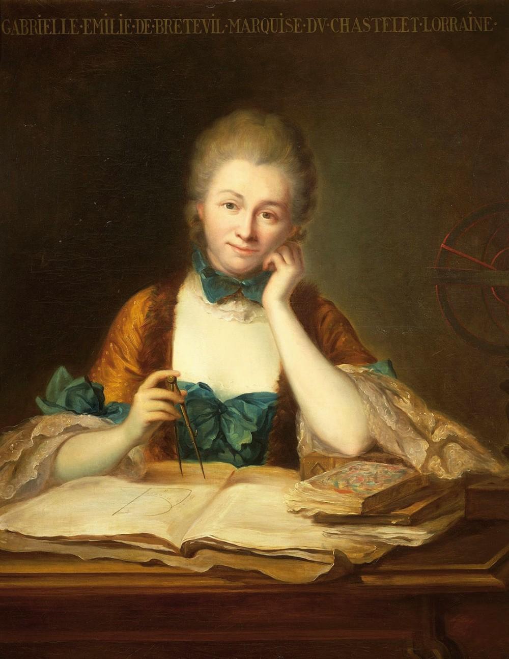 Anónimo.Gabrielle Emilie de Breteuil.Marquesa de Chatelet. Siglo XVIII Colección particular.