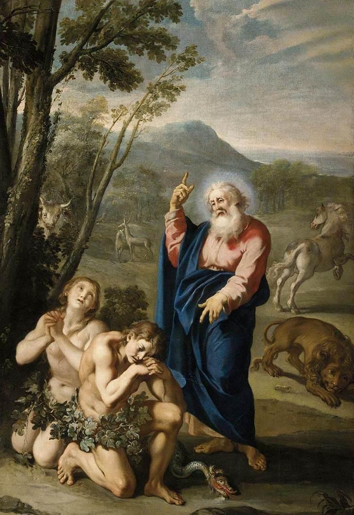Aureliano Milani. Expulsión de Adán y Eva del paraíso. Primera mitad del siglo XVIII. Colección particular.