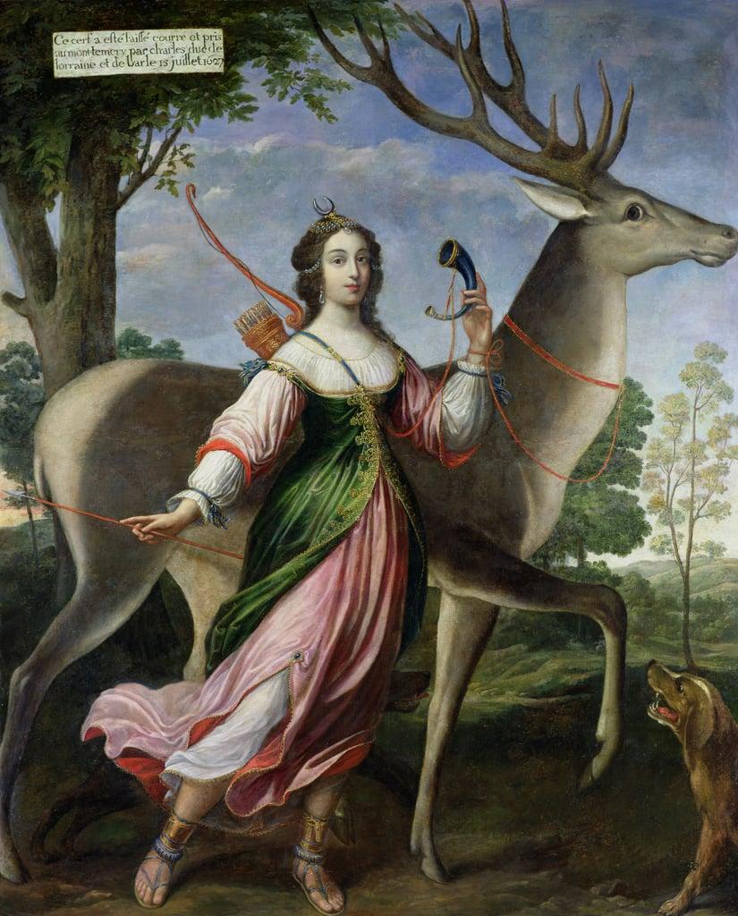 Claude Deruet. Marie de Rohan-Montbazon duquesa de Chevreuse como Diana cazadora. Siglo XVII.Palacio de Versalles.