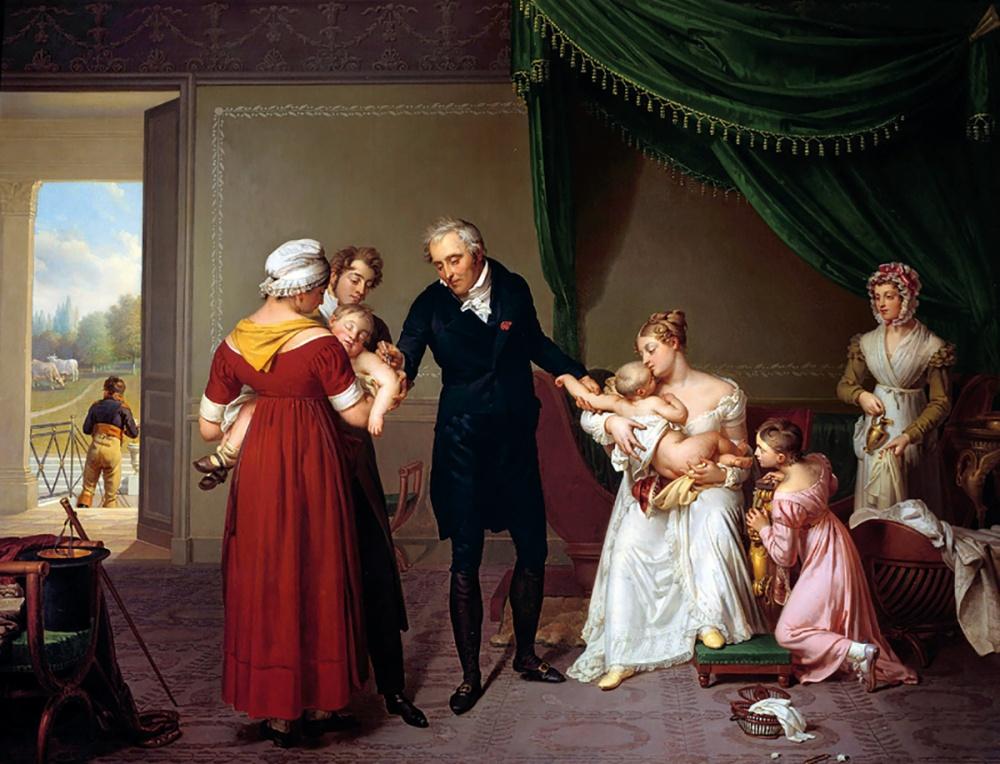 Constant-Joseph Desbordes. El Barón Jean Louis Alibert practicando la vacunación contra la viruela en el Castillo de Liancurt. 1820. Museo de Asistencia Pública. Hospital de Paris.
