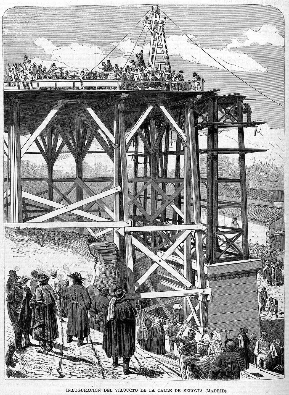 osep Lluis Pellicer (Dibujo), Bernardo Rico (Grabado). Inauguración del viaducto de la calle Segovia. 1872. La Ilustración de Madrid.