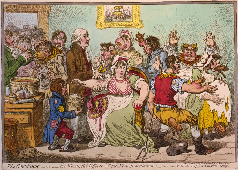 James Gillray. Cow-Pock o los efectos maravillosos de la vacuna. Londres. Publicada por H Humphrey. 1802. Colección Carlos González Guitián.