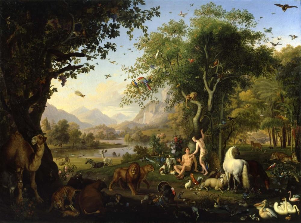 Johan Wenzel Peter. Adán y Eva en el Paraíso Terrenal. Museos Vaticanos.