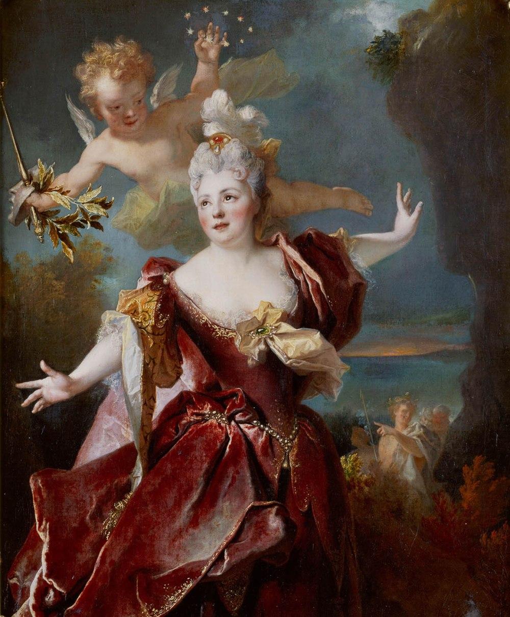 Nicolas de Largillierre. Retrato de la actriz Marie-Anne de Châteauneuf, conocida como madame Duclós en el papel de Ariane. Hacia 1712. Museo Condé. Palacio de Chantilly.