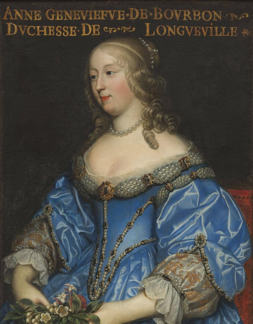Taller de Charles Beaubrun. Anne Geneviève de Borbón- Condé.Duquesa de Longueville. Mediados del siglo XVII.Museo de Historia de Francia. Palacio de Versalles.