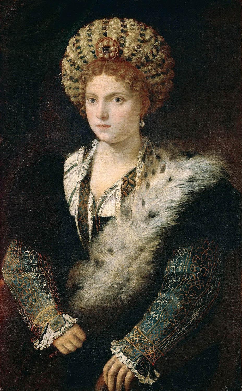 Tiziano Isabel d'Este. 1534-1536.Kunsthistorisches Museum. Viena