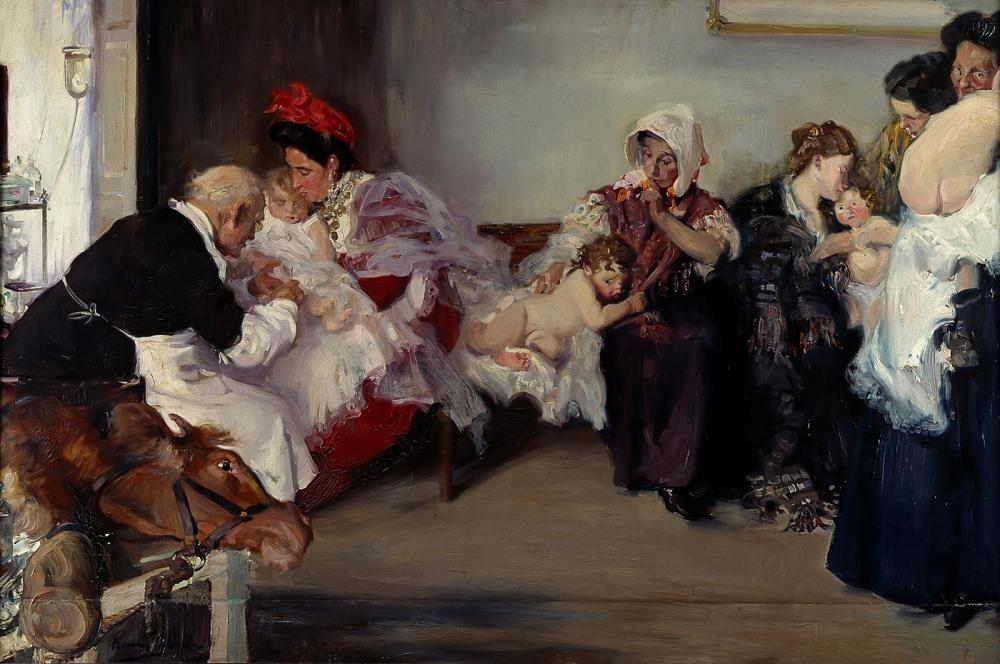 Vicente Borrás Abellá. Vacunación de niños. Hacia 1900. Museo Nacional del Prado. Madrid.