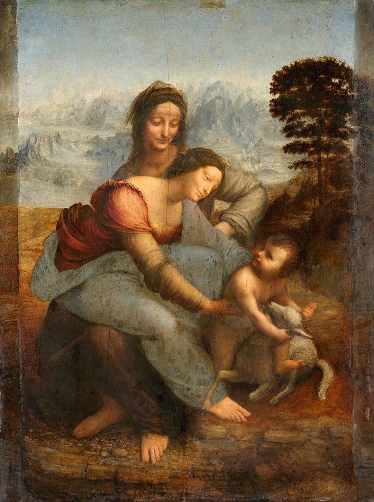 Leonardo da Vinci. La Virgen y el Niño con Santa Ana. Hacia 1503. Museo del Louvre. París