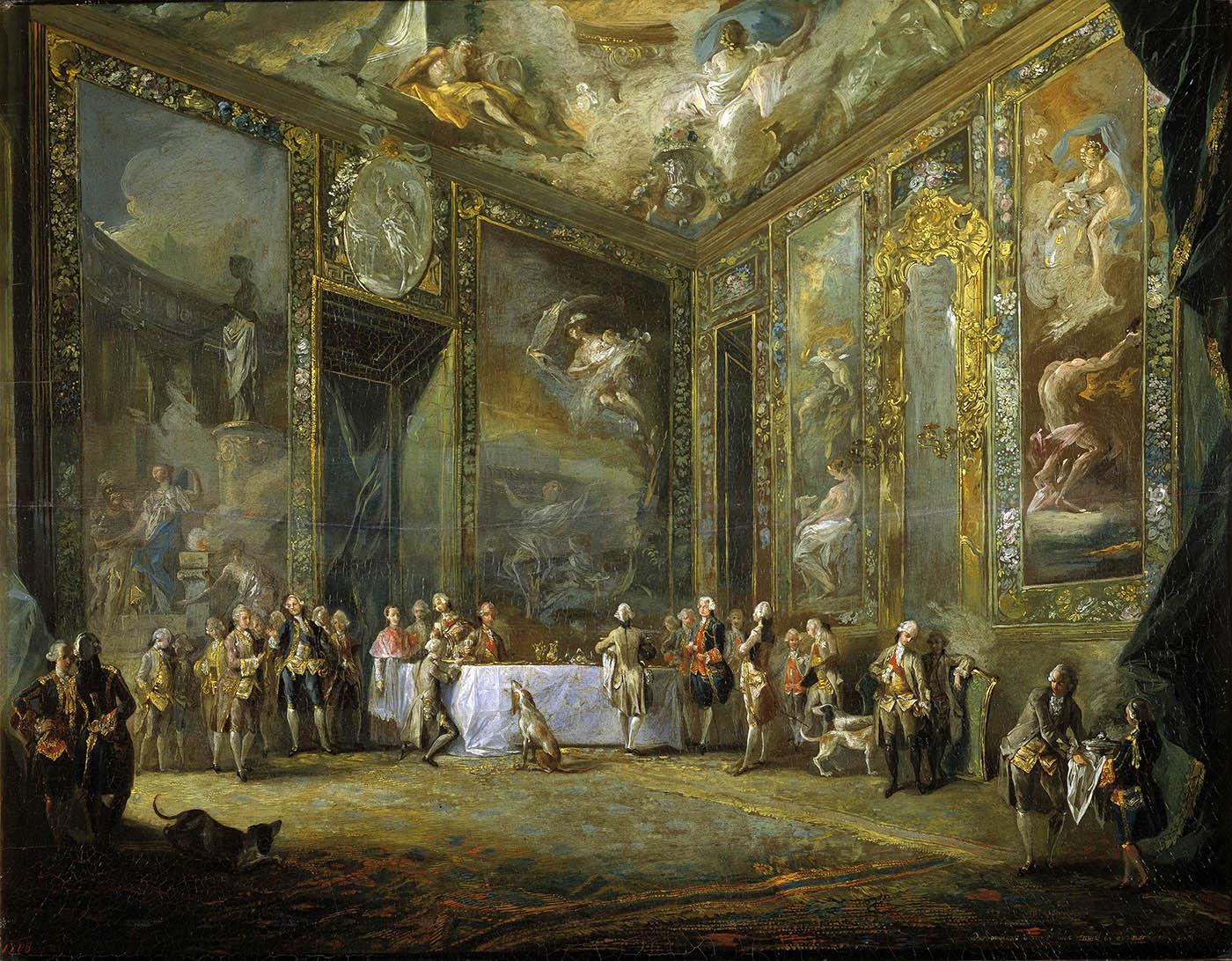 Luis Paret y Alcázar. Cena de Carlos III ante la Corte.Hacia 1775. Museo Nacional del Prado. Madrid.