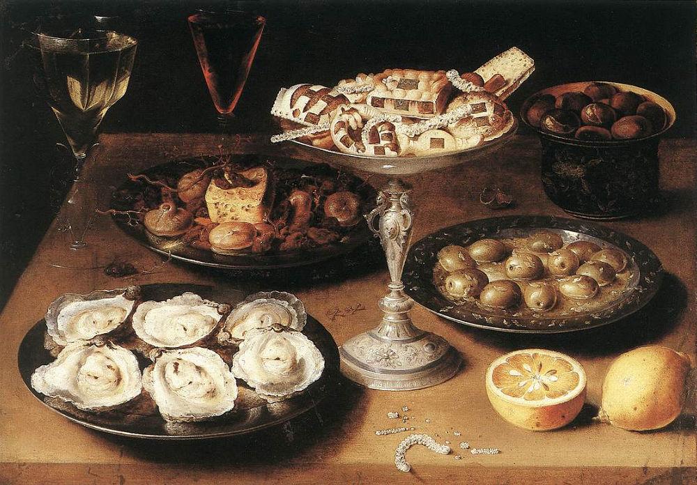 Osias Beert. Bodegón con ostras. Hacia 1610. Staatsgalerie. Stuttgart.