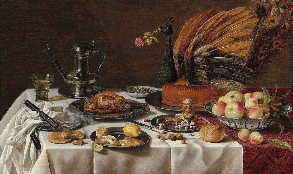 Pieter Claesz. Bodegón con pastel de pavo real.1627. National Gallery. Washington.