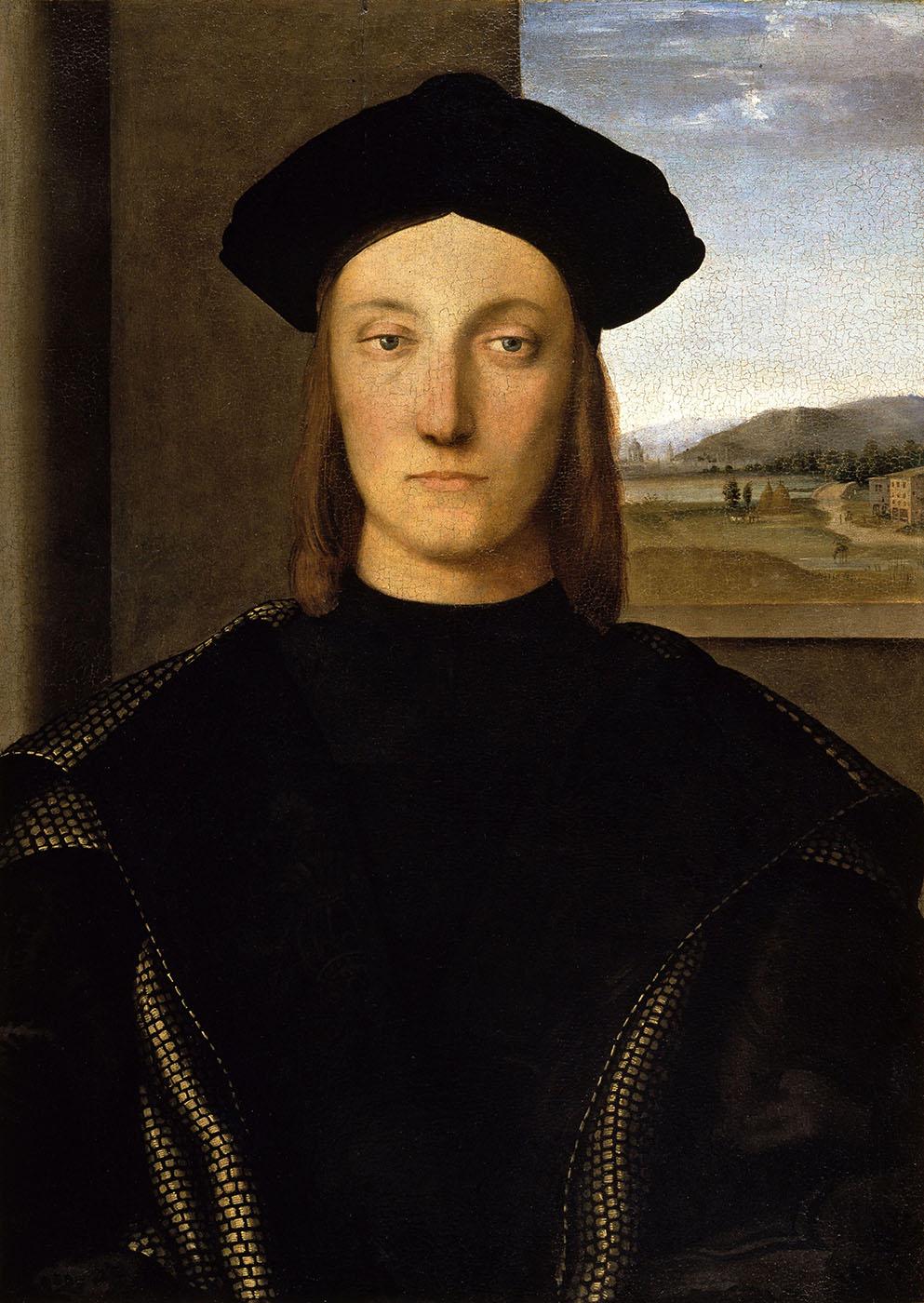 Rafael Sanzio. Guidobaldo de Mefeltro.Hacia 1507. Galería de los Uffizi. Florencia.