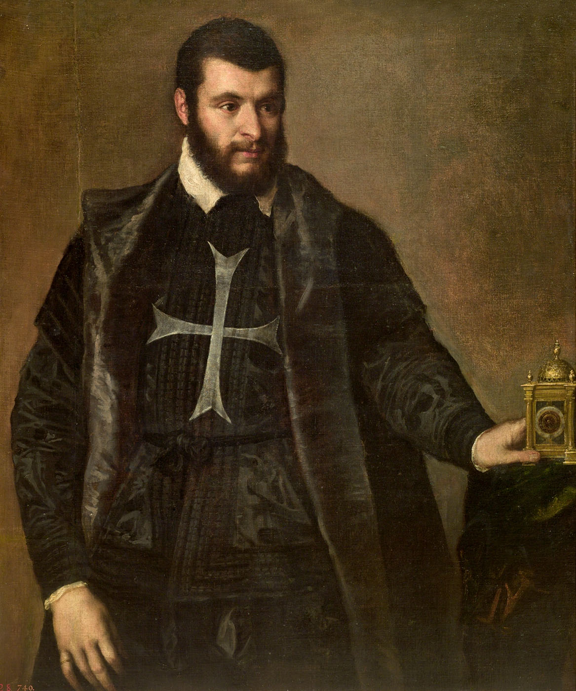 Tiziano. Caballero de Malta con reloj. Hacia 1550. Museo Nacional del Prado. Madrid.
