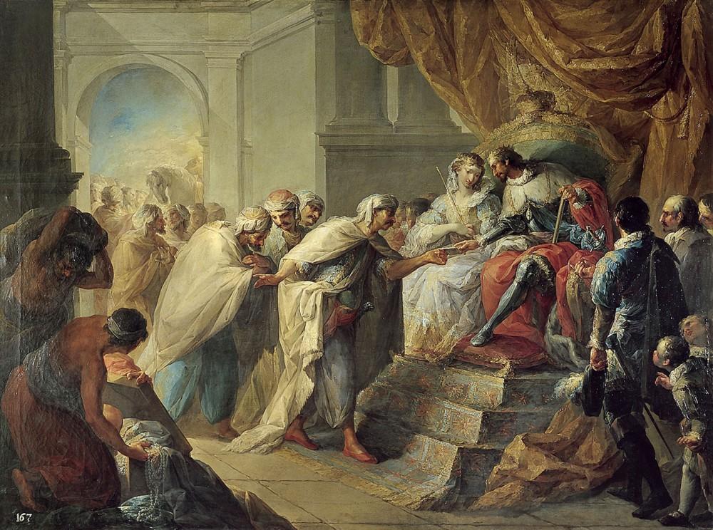 Vicente López Portaña. Los Reyes Católicos recibiendo la Embajada del Rey de Fez. 1790. Real Academia de San Fernando. Madrid.
