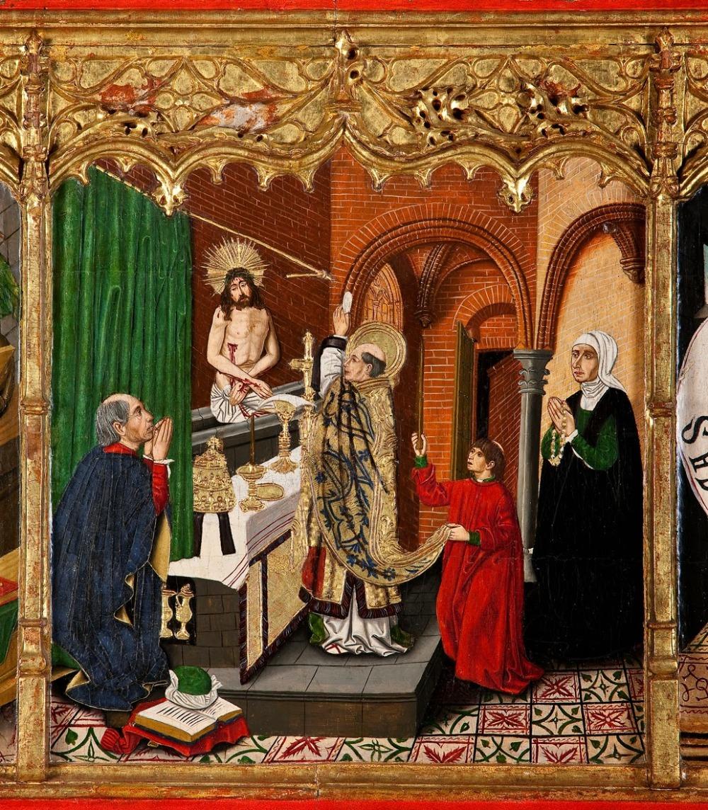 Martín Bernat. Predela del retablo de la Virgen de Monserrat. Iglesia parroquial de Alfajarín. Mediados del siglo XV.